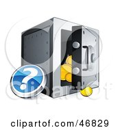 Royalty Free RF Clipart Illustration Of A Blue Question Button Beside An Open Safe