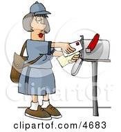 Female Mail Carrier Delivering Mail Into A Mailbox Clipart