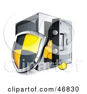 Royalty Free RF Clipart Illustration Of A Shield Leaning Against An Open Safe by beboy