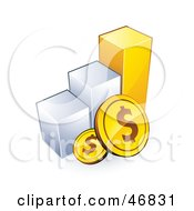 Royalty Free RF Clipart Illustration Of American Coins And A Bar Graph