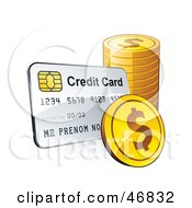 Royalty Free RF Clipart Illustration Of A Credit Card With A Stack Of Dollar Coins