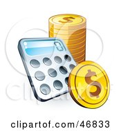 Royalty Free RF Clipart Illustration Of A Calculator With A Stack Of American Coins