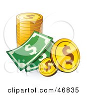 Royalty Free RF Clipart Illustration Of Cash And American Coins