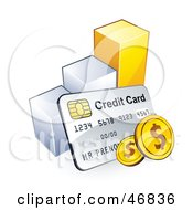 Royalty Free RF Clipart Illustration Of A Credit Card And American Coins Leaning Against A Bar Graph