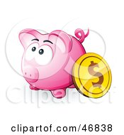 Royalty Free RF Clipart Illustration Of A Dollar Coin Resting Against A Pink Piggy Bank