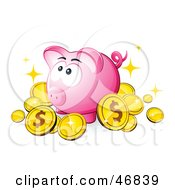 Pink Piggy Bank Surrounded By Dollar Coins