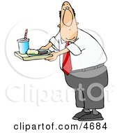 Male Teacher Carrying Food On A School Lunch Tray In A Cafeteria Clipart by djart