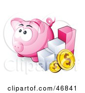 Royalty Free RF Clipart Illustration Of A Pink Piggy Bank By A Bar Graph And Coins