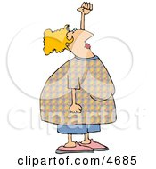 Obese Woman Stretching Her Arm Above Her Head Clipart