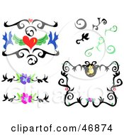 Royalty Free RF Clipart Illustration Of A Digital Collage Of Black Tattoo Designs And Flowers