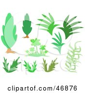 Royalty Free RF Clipart Illustration Of A Digital Collage Of Trees Plants And Clovers by bpearth