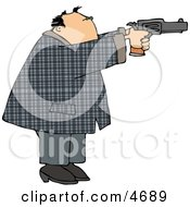 Convicted Male Criminal Pointing And Shooting A Gun Clipart by Dennis Cox