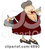 Obese Woman Putting On Lipstick And Going Out On A Blind Date Clipart