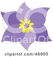 Royalty Free RF Clipart Illustration Of A Pretty Six Petal Purple Flower With A Yellow Center