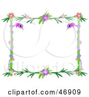 Royalty Free RF Clipart Illustration Of A Purple Snake And Hibiscus Pole Border by bpearth