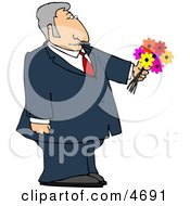 Dressed Up Elderly Man Holding A Bouquet Of Flowers For His Blind Date