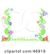 Royalty Free RF Clipart Illustration Of A Crab Seaweed And Fish Border