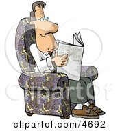 Man Sitting In His Chair And Reading The Newspaper Clipart