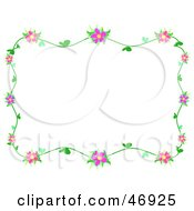 Royalty Free RF Clipart Illustration Of A Pink And Green Hibiscus Vine Border by bpearth