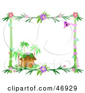 Royalty Free RF Clipart Illustration Of A Tropical Hut Border