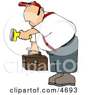 Male Worker Carrying A Toolbox And Pointing A Flashlight In The Dark Clipart