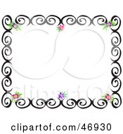 Royalty Free RF Clipart Illustration Of A Black Swirl And Hibiscus Flower Border by bpearth