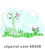 Royalty Free RF Clipart Illustration Of A Bird In A Tree Watching Butterflies With A Cloud Text Box by bpearth