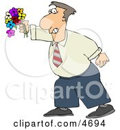 Man Holding A Colorful Bouquet Of Flowers With A Grin On His Face Clipart