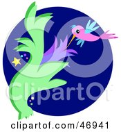 Royalty Free RF Clipart Illustration Of A Night Humming Bird Sucking Nectar From A Flower