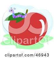 Royalty Free RF Clipart Illustration Of A Worm On A Red Apple House by bpearth