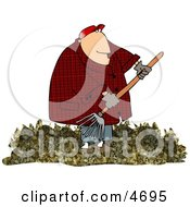 Obese Man Raking Dead Leaves From A Lawn Clipart