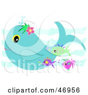 Royalty Free RF Clipart Illustration Of A Whale And Tropical Fish Swimming