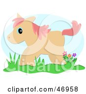 Royalty Free RF Clipart Illustration Of A Pony Standing By Flowers In Grass by bpearth