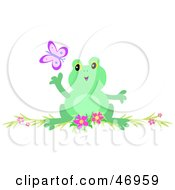 Royalty Free RF Clipart Illustration Of A Frog Reaching For A Butterfly by bpearth