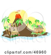 Royalty Free RF Clipart Illustration Of A Tribal Tiki Near A Hut On An Island With An Erupting Volcano by bpearth