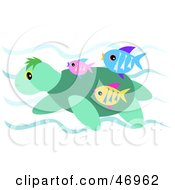 Royalty Free RF Clipart Illustration Of A Sea Turtle And Tropical Fish Swimming