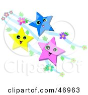 Royalty Free RF Clipart Illustration Of Three Colorful Happy Stars