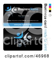 Royalty Free RF Clipart Illustration Of A Pre Made Blue Dancer Business Card Design by beboy