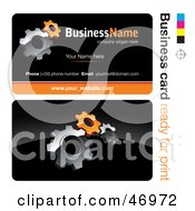 Royalty Free RF Clipart Illustration Of A Pre Made Orange Gear Cog Business Card Design by beboy