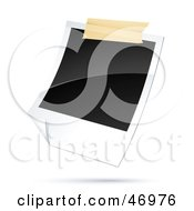 Royalty Free RF Clipart Illustration Of A Blank Polaroid Picture Taped To A Wall