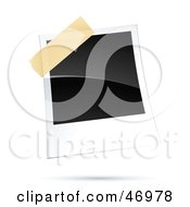 Royalty Free RF Clipart Illustration Of A Blank Polaroid Picture Taped To A Board