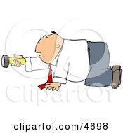 Businessman Crawling On The Ground While Pointing A Flashlight In The Darkness
