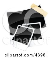 Royalty Free RF Clipart Illustration Of Three Blank Polaroid Pictures Paperclipped And Taped Together