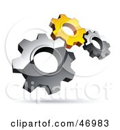 Royalty Free RF Clipart Illustration Of A Pre Made Logo Of Silver And Yellow Gears by beboy