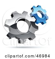 Royalty Free RF Clipart Illustration Of A Pre Made Logo Of Silver And Blue Gear Cog Wheels by beboy #COLLC46984-0058