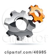 Royalty Free RF Clipart Illustration Of A Pre Made Logo Of Silver And Orange Gear Cog Wheels by beboy
