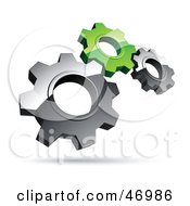 Royalty Free RF Clipart Illustration Of A Pre Made Logo Of Silver And Green Gears by beboy