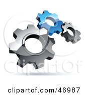 Royalty Free RF Clipart Illustration Of A Pre Made Logo Of Silver And Blue Gears by beboy #COLLC46987-0058