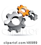 Royalty Free RF Clipart Illustration Of A Pre Made Logo Of Silver And Orange Gears