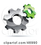 Royalty Free RF Clipart Illustration Of A Pre Made Logo Of Silver And Green Gear Cog Wheels